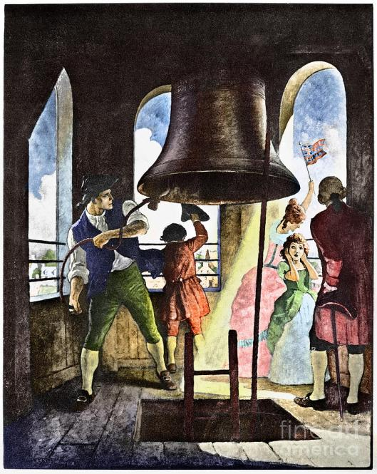 "LIBERTY BELL, 1776, ""Ringing out Liberty, July 8, 1776"" Colored lithograph c1929, after a painting by N.C. Wyeth"