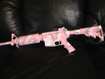 "This is a ""breast cancer"" support weapon with a sponsored logo!"
