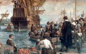 Like the Prometheus of Aeschylus, who challenged the Olympian gods, and stole their fire to give to mankind, so our ancestors came to these shores, to bring progress, through science and Classical culture, safely away from the oligarchical pestilence of Europe. Here, ships arrive with Pilgrim settlers in Salem Harbor, 1628.