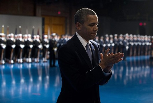US President Barack Obama applauds outgoing Defense Secretary Leon Panetta during an Armed Forces Farewell Tribute in honor of Panetta at Joint Base Myer-Henderson in Arlington, Virginia, February 8, 2013. Panetta will retire once his likely successor, former Nebraska Senator Chuck Hagel, is confirmed by the US Senate. Credit: AFP/Getty Images
