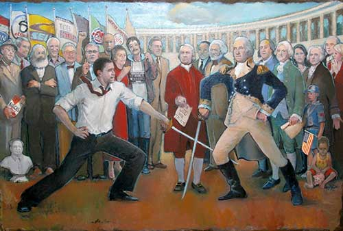 "George Washington ably parries Barack Obama's thrust in ""Washington's Sword"" by Barbara Allen, an original painting entered in the Power Line Prize competition."
