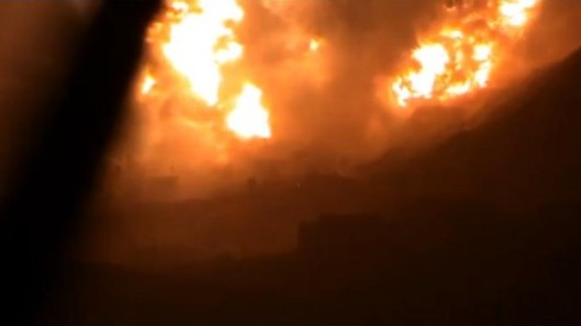 A massive explosion lights up the night sky in Damascus (Image from YouTube)