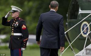 obama ignores Marine salute