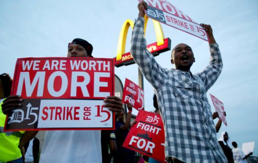 Supporters of a higher minimum wage demonstrated outside a McDonald's in Detroit. Published: July 31, 2013
