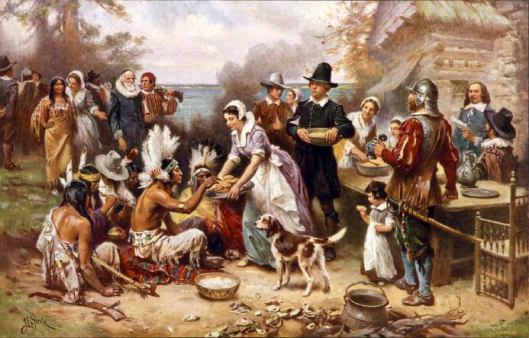 """The First Thanksgiving"" (1915), by Jean Louis Gerome Ferris (American painter, 1863-1930)."