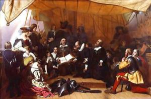 Signing of the Mayflower Compact in 1620.