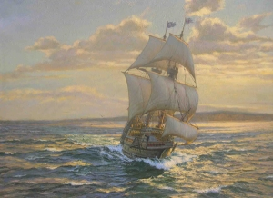 """ The ""Mayflower"" approaching Cape Cod, November 1620."" by A.D.Blake. In the late afternoon the ""Mayflower"" runs along parallel to the Cape Cod peninsular as she approaches , what is now known as Provincetown."