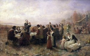 THE FIRST THANKSGIVING at Plymouth, MA. Oil on canvas, 1914, by Jennie A. Brownscombe.