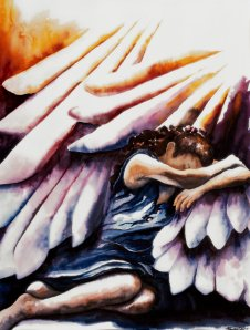 Woman  taking refuge in the wings of God inspired by Psalm17:8